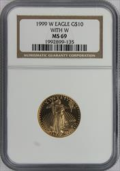 1999 $10 Gold Eage With W MS69 NGC