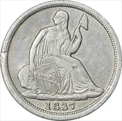 1837 Liberty Seated Half Dime No Stars Small Date VF Uncertified