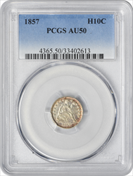 1857 Liberty Seated Silver Half Dime AU50 PCGS