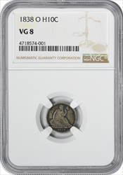 1838-O Liberty Seated Silver Half Dime VG08 NGC