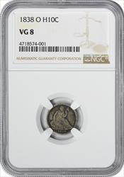 1838-O Liberty Seated Silver Half Dime VG08 NGC