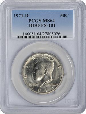 1971-D Kennedy Half Dollar DDO FS-101 MS64 PCGS