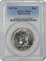 1971-D Kennedy Half Dollar DDO FS-102 MS64 PCGS