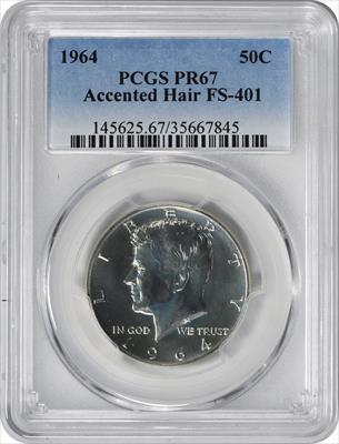1964 Kennedy Half Dollar Accented Hair FS-401 PR67 PCGS