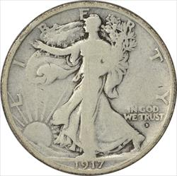 1917-D Walking Liberty Half Dollar Obverse VG Uncertified