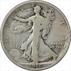 1916-D Walking Liberty Half Dollar VG Uncertified