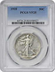 1918-P Walking Liberty Half Dollar VF25 PCGS