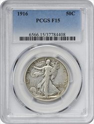 1916-P Walking Liberty Silver Half Dollar F15 PCGS