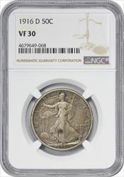 1916-D Walking Liberty Silver Half Dollar VF30 NGC