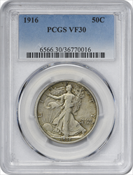 1916-P Walking Liberty Silver Half Dollar VF30 PCGS