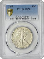1918-P Walking Liberty Silver Half Dollar AU50 PCGS