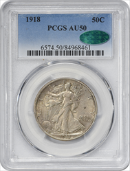 1918-P Walking Liberty Silver Half Dollar AU50 PCGS (CAC)