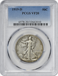 1919-D Walking Liberty Half Dollar VF20 PCGS