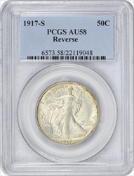 1917-S Walking Liberty Half Dollar Reverse AU58 PCGS