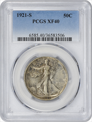 1921-S Walking Liberty Silver Half Dollar EF40 PCGS