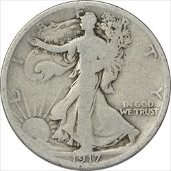 1917-D Walking Liberty Half Dollar Reverse VG Uncertified