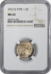 1913-D Buffalo Nickel Type 1 MS65 NGC