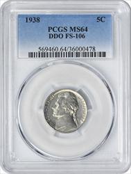 1938 Jefferson Nickel DDO FS-106 MS64 PCGS