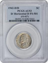 1942-D/D Jefferson Nickel D/Horizontal D FS-501 AU53 PCGS