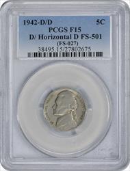 1942-D/D  Jefferson Nickel D/Horizontal D FS-501 F15 PCGS
