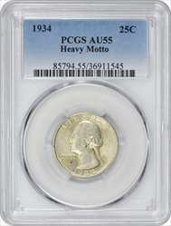 1934 Washington Silver Quarter Heavy Motto AU55 PCGS