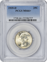 1935-D Washington Silver Quarter MS66+ PCGS