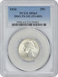 1934 Washington Quarter DDO FS-101 MS63 PCGS