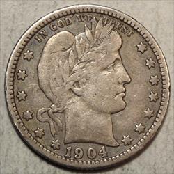 1904-O Barber Quarter, Fine to Very Fine, Scarce
