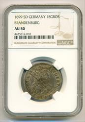 Germany States Brandenburg Silver 1699 SD 18 Groscher AU50 NGC