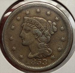 1853 Large Cent, Fine, Inexpensive Type Coin