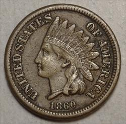 1860 Indian Cent, Round Bust, Choice Very Fine