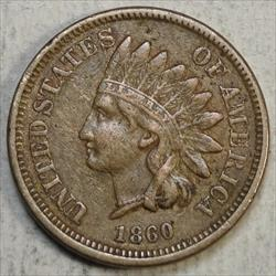 1860 Indian Cent, Pointed Bust, Very Fine+