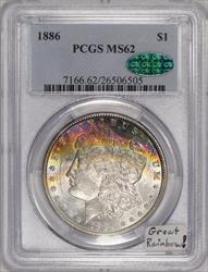1886 Morgan Dollar PCGS MS-62 With CAC;  Great Rainbow!