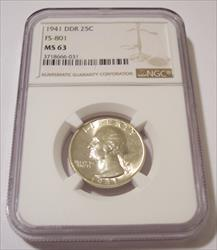 1941 Washington Quarter DDR FS-801 MS63 NGC