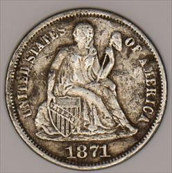 1871-S Seated Liberty Dime; XF Details