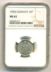 Germany Empire 1909 J 10 Pfennig MS62 NGC