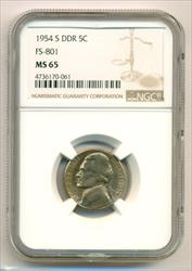 1954 S Jefferson Nickel DDR Variety FS-801 MS65 NGC