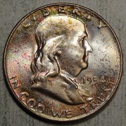 1954 Franklin Half Dollar, Choice Uncirculated, Nice Color