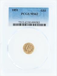 1851- G$1 LIBERTY HEAD