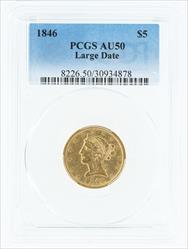 1846- $5 LIBERTY HEAD