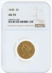 1848- $5 LIBERTY HEAD