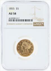 1855- $5 LIBERTY HEAD