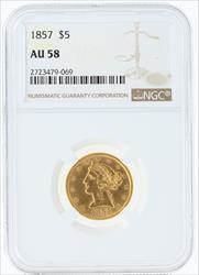 1857- $5 LIBERTY HEAD