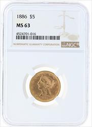 1886- $5 LIBERTY HEAD