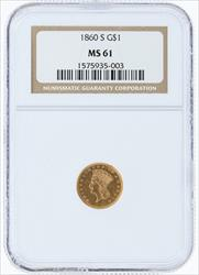 1860- G$1 SMALL INDIAN PRINCESS HEAD