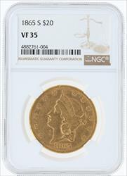 1865- $20 LIBERTY HEAD