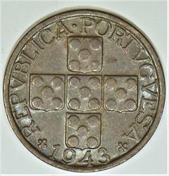 1943 Portugal Twenty Centavos; Choice AU