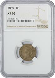 1859 Indian Cent EF40 NGC