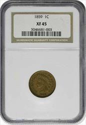 1859 Indian Cent, EF45, NGC