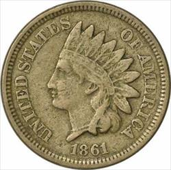 1861 Indian Cent, F, Uncertified